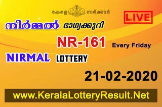 Kerala Lottery Result Nirmal NR-161 21.02.20