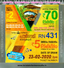 Kerala Lottery Results: 23-02-2020 Pournami RN-431 Lottery Result